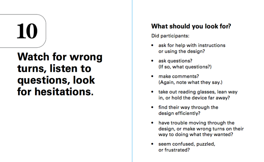 What to look for in a usability test